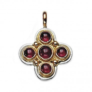 Gerochristo 5011 ~ Solid Gold, and Silver Multi Stone Byzantine-Medieval Cross Pendant