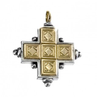 Gerochristo 5014 ~ Solid 18K Gold & Sterling Silver Byzantine Cross Pendant