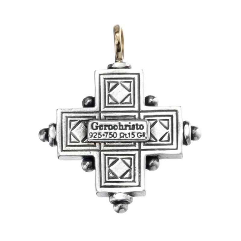 Byzantine cross in solid sterling silver 925
