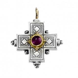Gerochristo 5015 ~ Solid Gold, Silver & Gemstone Byzantine Cross Pendant