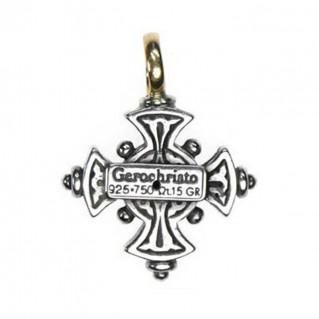 Gerochristo 5017 ~ Solid 18K Gold & Sterling Silver Byzantine Cross Pendant