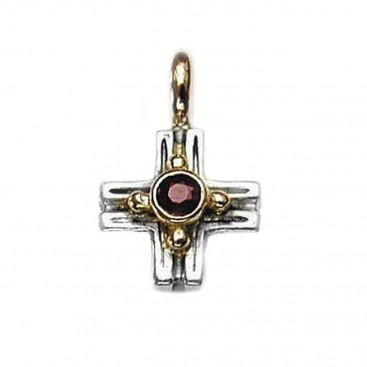 Gerochristo 5025 ~ Solid 18K Gold, Sterling Silver & Garnet Greek Cross Pendant