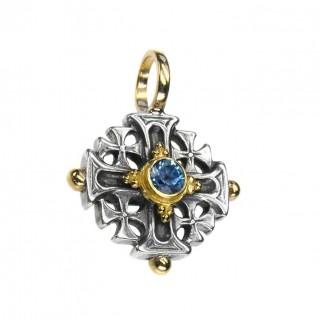 Gerochristo 5028 ~ Solid Gold, Sterling Silver Jerusalem Cross Pendant