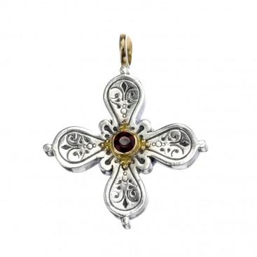 Gerochristo 5029N ~ Solid Gold & Sterling Silver Byzantine-Medieval Cross Pendant