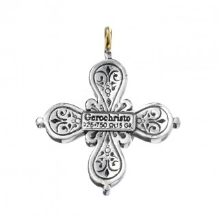 Gerochristo 5029N ~ Solid Gold & Sterling Silver Byzantine-Medieval Cross Pendant