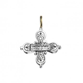 Gerochristo 5036N ~ Solid Gold & Sterling Silver Byzantine Cross Pendant