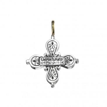 Gerochristo 5036N ~ Solid Gold & Sterling Silver Byzantine Cross Pendant