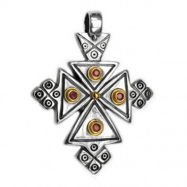 Gerochristo 5051 ~ Solid 18K Gold, Sterling Silver & Ruby Coptic Cross Pendant