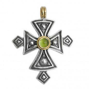 Gerochristo 5053 ~ Solid 18K Gold & Sterling Silver Coptic Cross Pendant