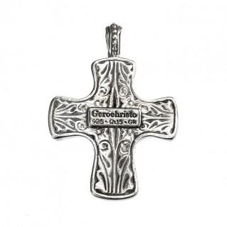 Gerochristo 5054N ~ Sterling Silver & Garnet Byzantine-Medieval Cross Pendant