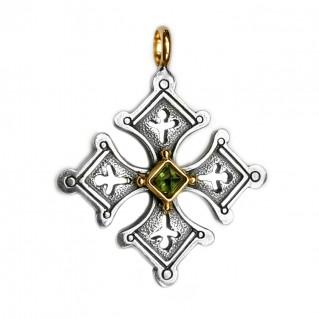 Gerochristo 5057 ~ Solid 18K Gold & Sterling Silver Coptic Cross Pendant