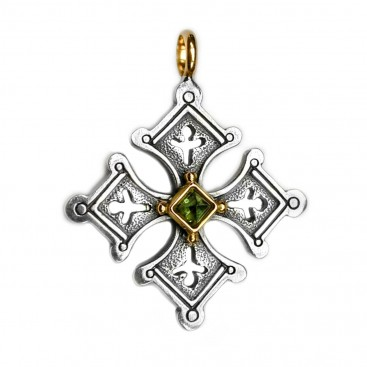 Gerochristo 5057 ~ Solid 18K Gold & Sterling Silver Coptic Cross Pendant