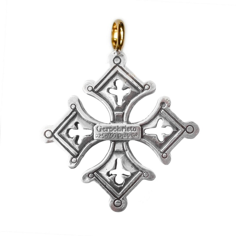 Cross Pendant with Wrap Design Two Tone Sterling Silver and Gold-plated Necklace