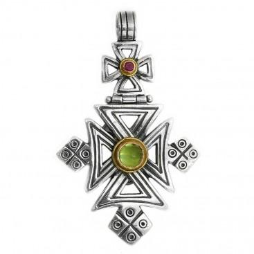 Gerochristo 5059 ~ Solid Gold, Silver, Peridot & Ruby Coptic Cross Pendant