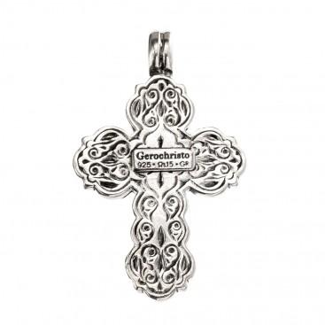 Gerochristo 5060N ~ Sterling Silver & Pearl Byzantine Cross Pendant