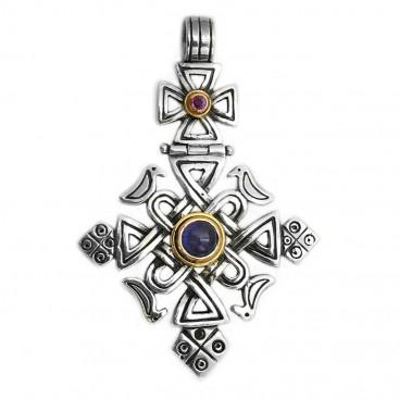 Gerochristo 5061 ~ Solid 18K Gold, Sterling Silver, Iolite & Ruby Coptic Cross Pendant