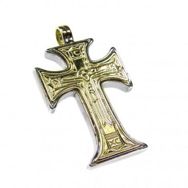 Gerochristo 5072 ~ Solid 18K Gold & Silver Byzantine IC XC NI KA Cross Pendant