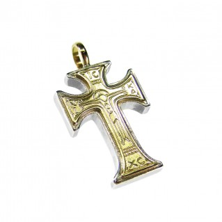 Gerochristo 5073 ~ Solid 18K Gold & Silver Byzantine IC XC NI KA Cross Pendant