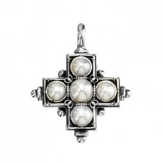 Gerochristo 5075N ~ Sterling Silver & Pearls Byzantine-Medieval Cross Pendant