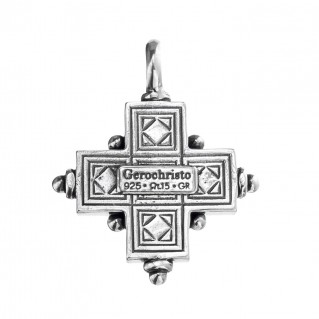 Gerochristo 5075N ~ Sterling Silver & Pearls Byzantine-Medieval Cross Pendant