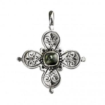 Gerochristo 5087N ~ Sterling Silver & Gemstone Byzantine-Medieval Cross Pendant