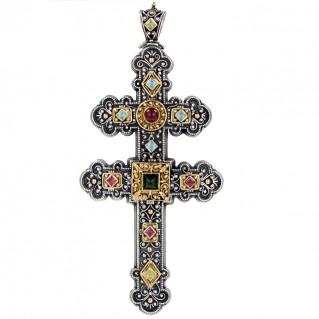 Gerochristo 5092 ~ Gold & Silver Multicolor Byzantine Large Cross Pendant