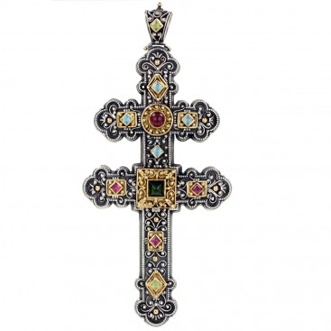 Gerochristo 5092 ~ Gold & Silver Multicolor Byzantine Large Cross Pendant