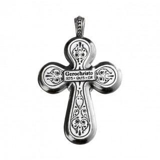 Gerochristo 5093N ~ Sterling Silver & Zircon Medieval Cross Pendant