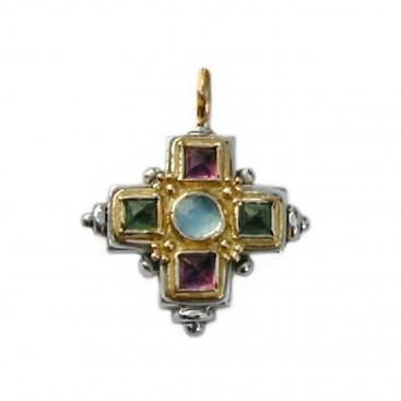 Gerochristo 5095 ~ Gold, Silver & Stones Multicolor Medieval-Byzantine Cross Pendant