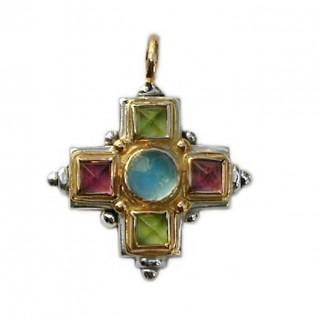 Gerochristo 5096 ~ Gold, Silver & Stones Multicolor Medieval-Byzantine Cross Pendant