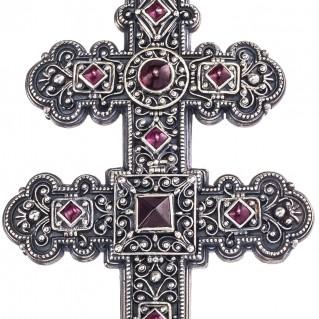 Gerochristo 5099 ~ Sterling Silver Byzantine Large Patriarchal Cross Pendant