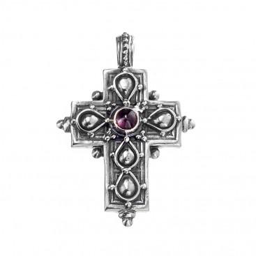 Gerochristo 5100N ~ Sterling Silver & Garnet Byzantine-Medieval Cross Pendant