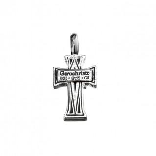 Gerochristo 5108PN ~ Sterling Silver Medieval-Byzantine Pearl Cross Pendant