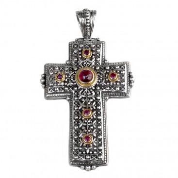 Gerochristo 5123 ~ Solid Gold, Sterling Silver & Gemstones Medieval-Byzantine Cross Pendant