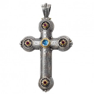 Gerochristo 5124 ~ Solid Gold, Silver & Gemstones~Byzantine Medieval Large Cross Pendant