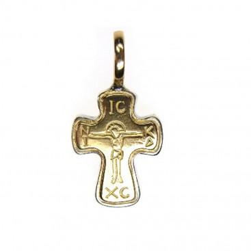 Gerochristo 5132 ~ Solid 18K Gold & Sterling Silver Byzantine Cross Pendant