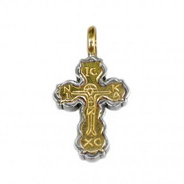 Gerochristo 5133 ~ Solid 18K Gold & Silver Byzantine Cross Pendant