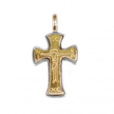 Gerochristo 5134 ~ Solid 18K Gold & Sterling Silver Byzantine Cross Pendant