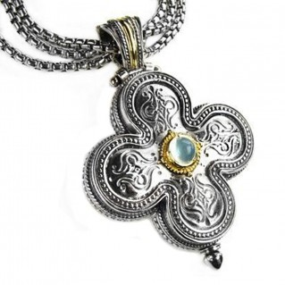 Gerochristo 5140 ~ Solid 18K Gold & Silver Medieval-Byzantine Cross Pendant