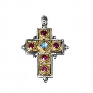 Gerochristo 5160 ~ Solid Gold, Sterling Silver & Gemstones Medieval-Byzantine Cross Pendant