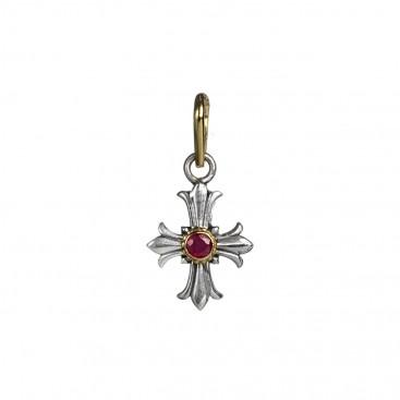 Gerochristo 5182N ~ Solid Gold & Silver Medieval Fleur de Lis Cross Pendant