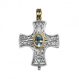 Gerochristo 5195N ~ Solid Gold, Silver & Blue Topaz Byzantine-Medieval Cross Pendant