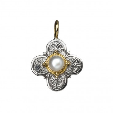 Gerochristo 5205 ~ Solid Gold & Sterling Silver Medieval-Byzantine Cross Pendant