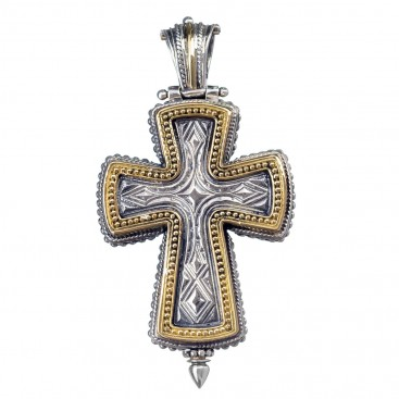 Gerochristo 5208 ~ Solid Gold & Sterling Silver Medieval-Byzantine Reliquary Locket Cross Pendant