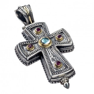 Gerochristo 5210 ~ Solid Gold, Silver & Stones Medieval Byzantine Reliquary Locket Cross Pendant