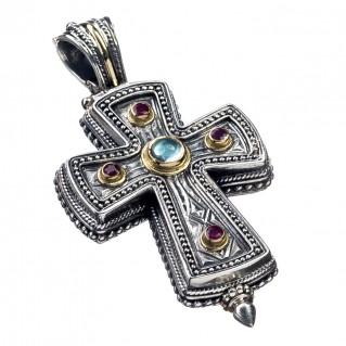 Gerochristo 5210 ~ Solid Gold, Silver & Stones Medieval Byzantine Reliquary Locket Cross Pendant