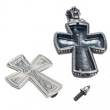 Gerochristo 5211 ~ Sterling Silver Medieval-Byzantine Locket Cross Pendant
