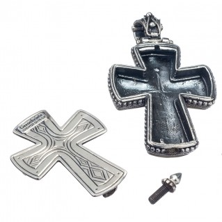 Gerochristo 5213 ~ Solid Gold, Silver & Tourmaline Medieval Byzantine Reliquary Locket Cross Pendant