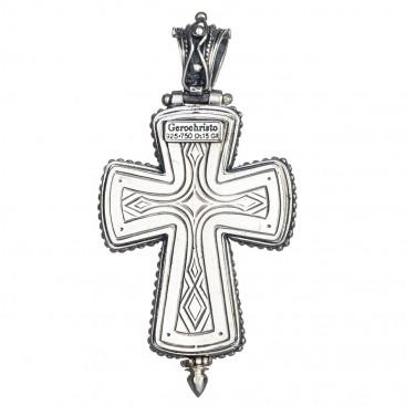 Gerochristo 5213 ~ Solid Gold, Silver & Tourmaline Medieval Byzantine Reliquary Locket Cross Pendant