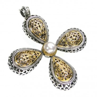 Gerochristo 5215 ~ Solid Gold, Silver & Pearl Byzantine-Medieval Large Cross Pendant